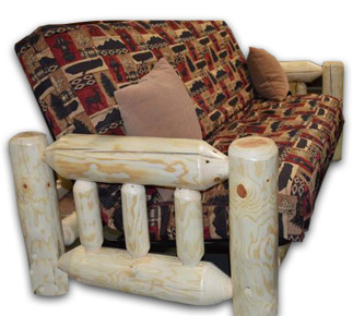Rustic Pine Log Futon Set